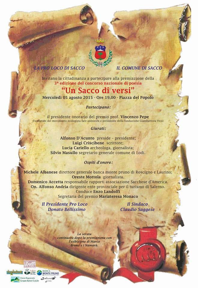 """Ennesimo successo per il Premio di poesia """"Un sacco di versi"""": ecco i vincitori"""
