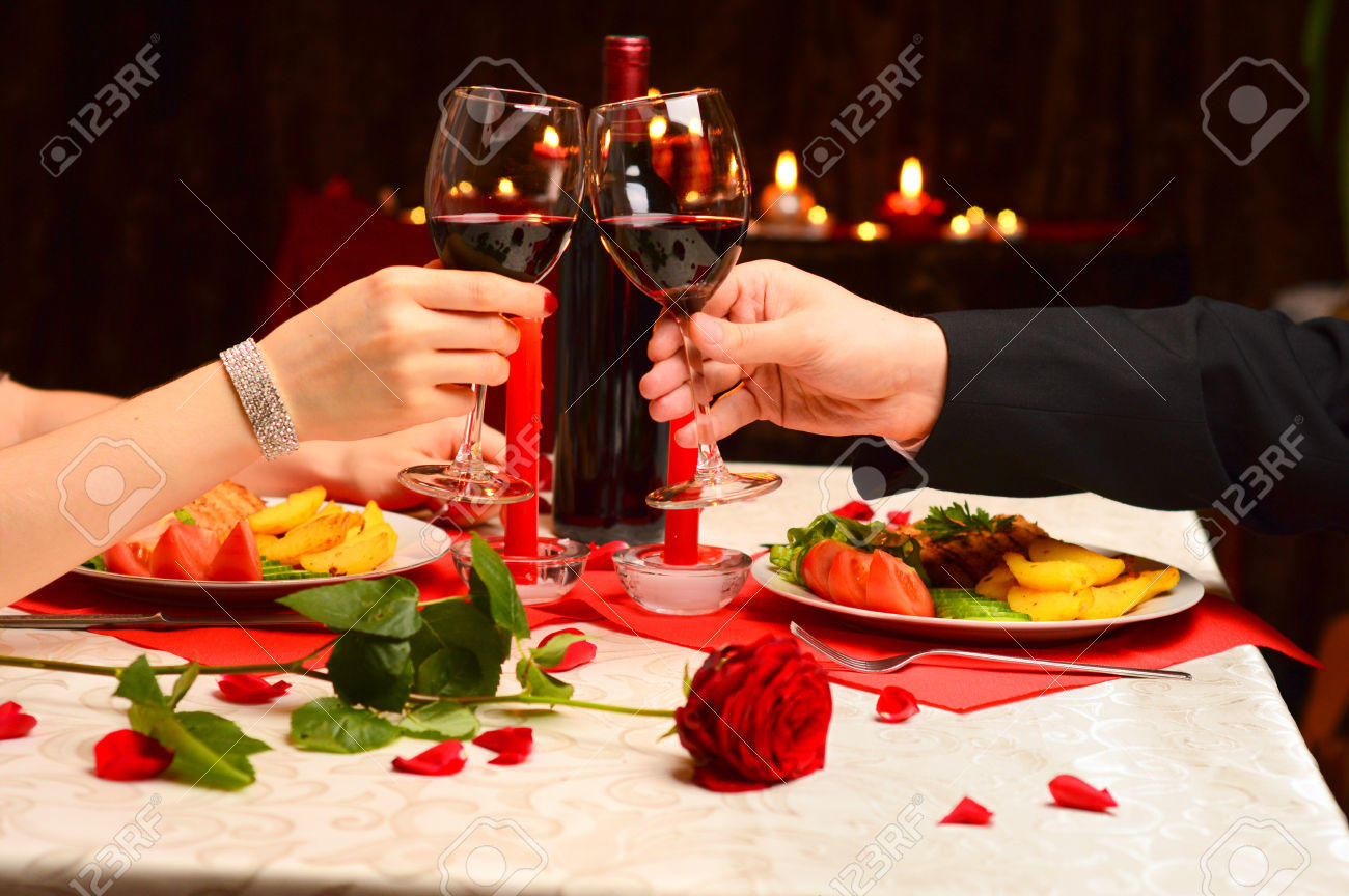 toast at a romantic dinner
