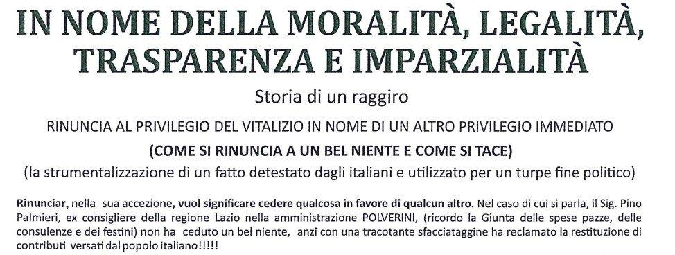 """Palmieri rinuncia al vitalizio, Rizzo accusa: """"Rinuncia a un bel niente"""""""