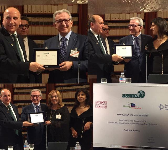 """Al Direttore Generale Michele Albanese il Premio Asmef """"Cilentani nel Mondo"""""""