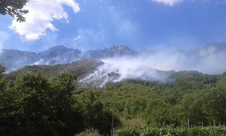 Vasto incendio in corso sui Monti Alburni